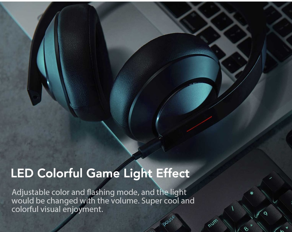 Xiaomi Gaming Headset 7.1 Surround Sound Grephene LED Headphone With Double Mic Noise Reduction Heavy Bass Stereo for PC (5)