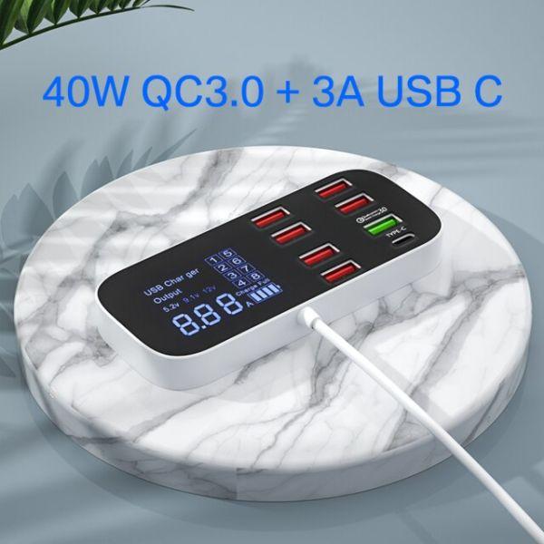 Slim 8 Ports USB Quick Charger Station QC3.0-White-US