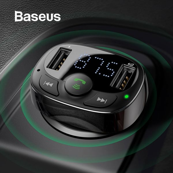 Baseus Dual USB Car Charger Bluetooth Handsfree FM Modulator Phone Charger