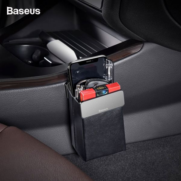 Baseus Universal Leather Car Storage Bag | Cell Phone Holder | Car Multifunctional Seat Organizer | Magnet Pocket Organizer