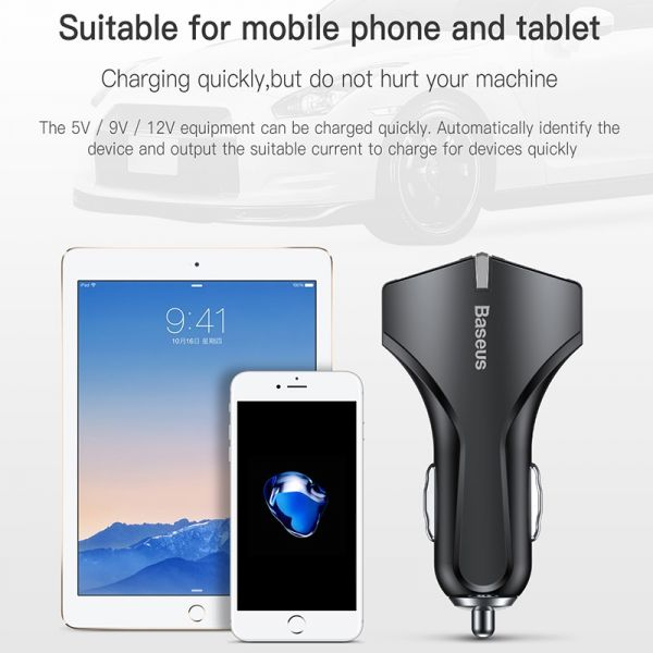 Baseus Dual USB Car Charger with Quick Charge 3.0