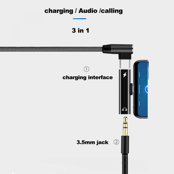 2 In 1 Type C To 3.5mm Jack Earphone Charging Converter