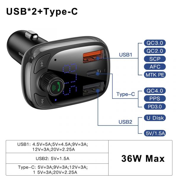 Baseus Quick Charge 4.0 Car Charger FM Transmitter Bluetooth Car Kit Audio MP3 Player Fast Dual USB