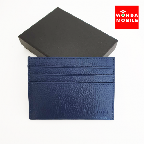 Genuine Embossed Leather Card Holder (Est. 14-16 working days)-Navy