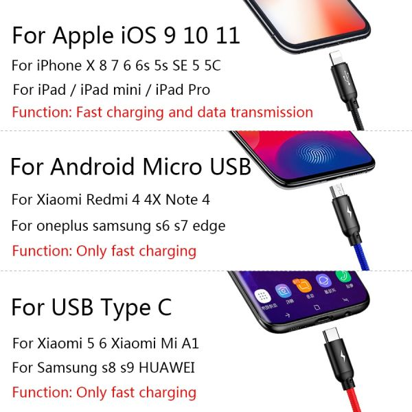 Baseus 3 in 1 USB cable with Micro / Type-C / Lighting connector