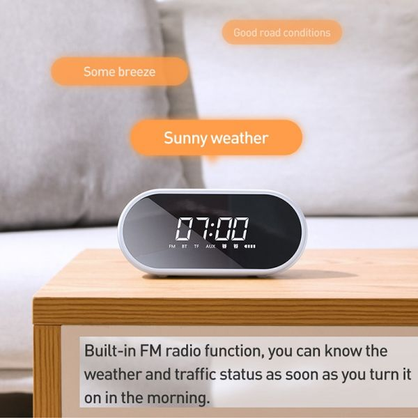 Baseus Night light Bluetooth Speaker With Alarm Clock Function ,Portable Wireless Loudspeaker Sound System
