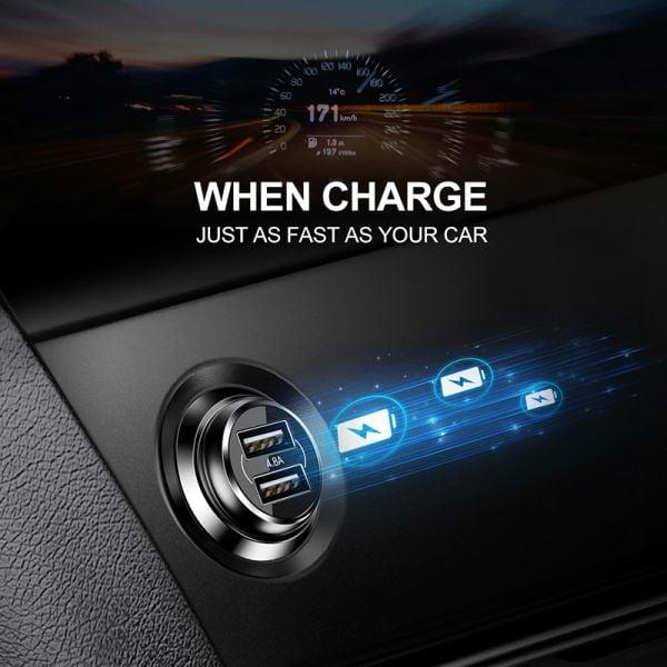 Baseus Dual 2 Port USB Mini Metal Car Charger / 4.8A Fast Charge