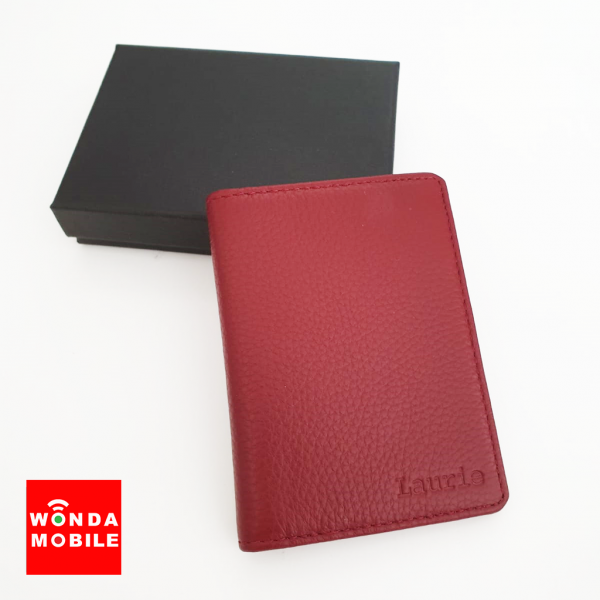 Genuine Embossed Leather Fold Card Wallet (Est. 14-16 working days)-Red