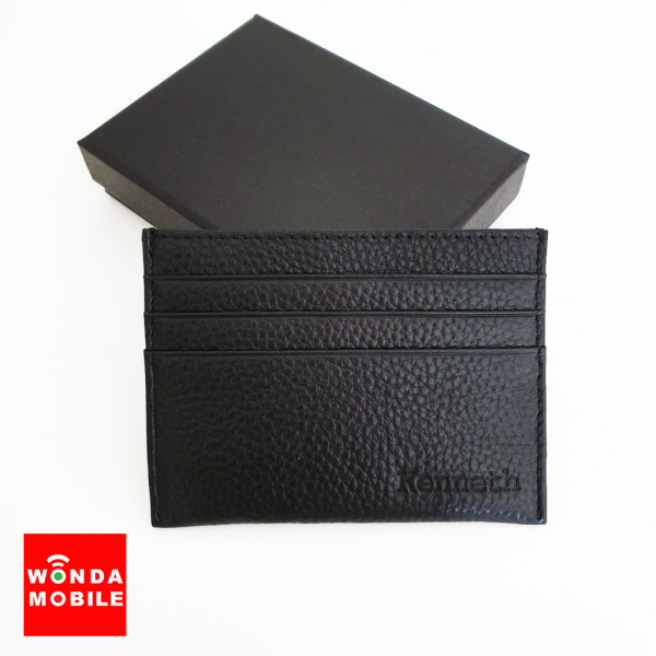 Genuine Embossed Leather Card Holder (Est. 14-16 working days)-Black