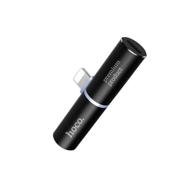 HOCO LS7 Dual Lightning Charging/Audio Splitter-Black