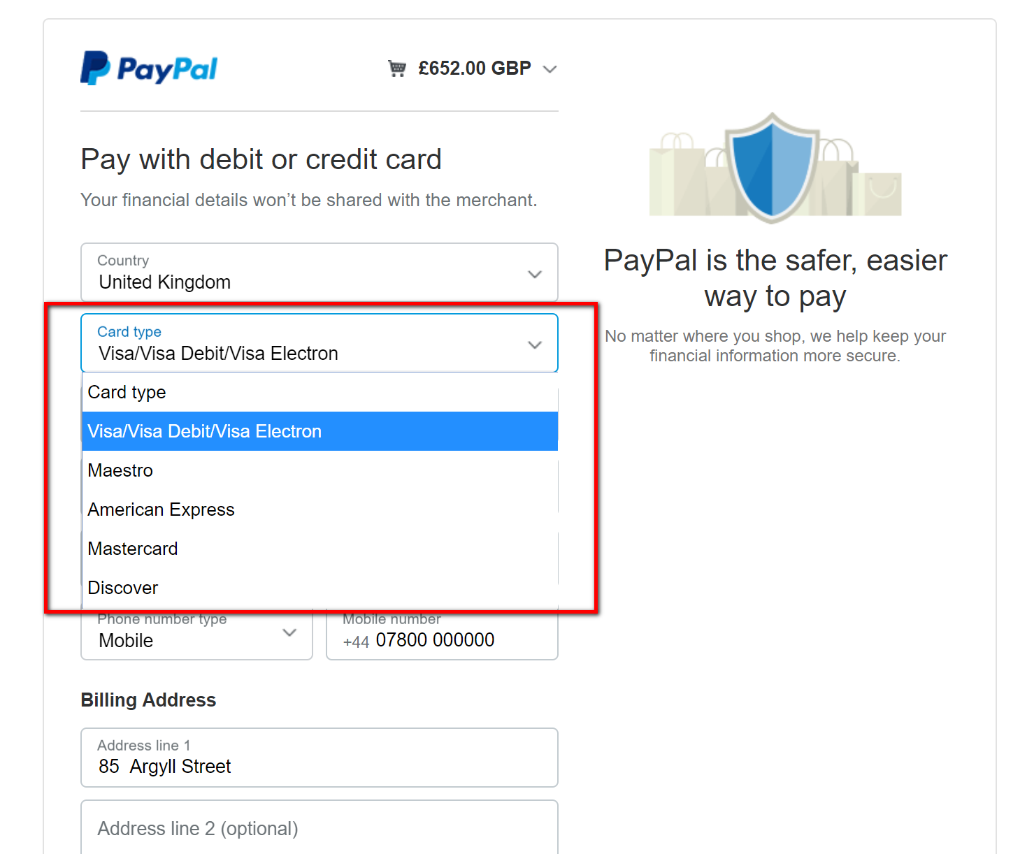 Supported payment method